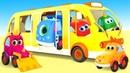 Весёлые песенки для детей - Новый мультик песенка с машинками Мокас - Колеса у автобуса