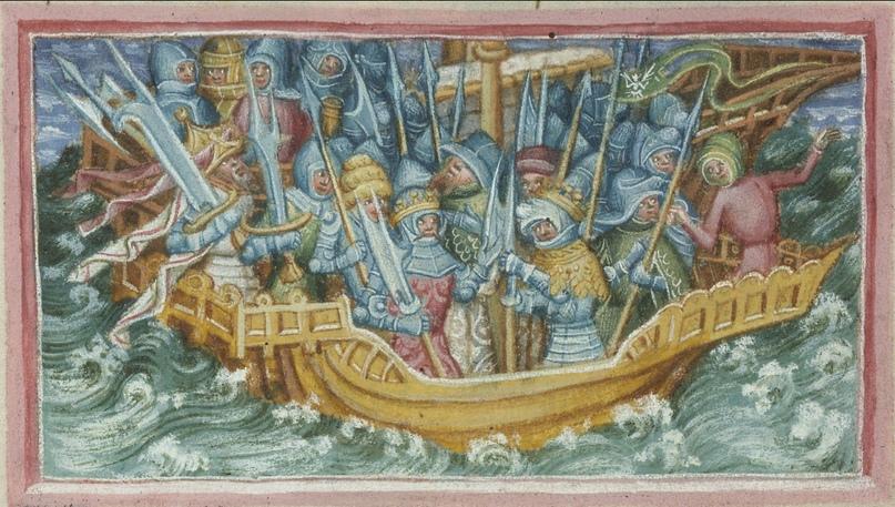 Изображение Ивара и Уббы, отправляющихся мстить за своего отца, Лодброка. Британская библиотека.