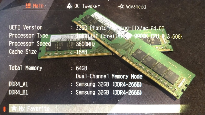 Overclocking 2x32GB(M378A4G43MB1-CTD) of Samsung DDR4 on the Asrock Z390 Phantom Gaming ITX