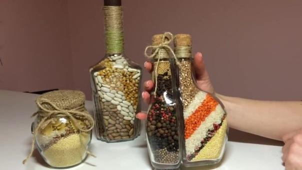 ДОМАШНИЙ ДЕКОР СВОИМИ РУКАМИ Все же знают знаменитые сувениры с цветным песком! А вот вам наш вариант! Вместо цветного песка используем крупы!Это - простой, интересный, а, главное, бюджетный