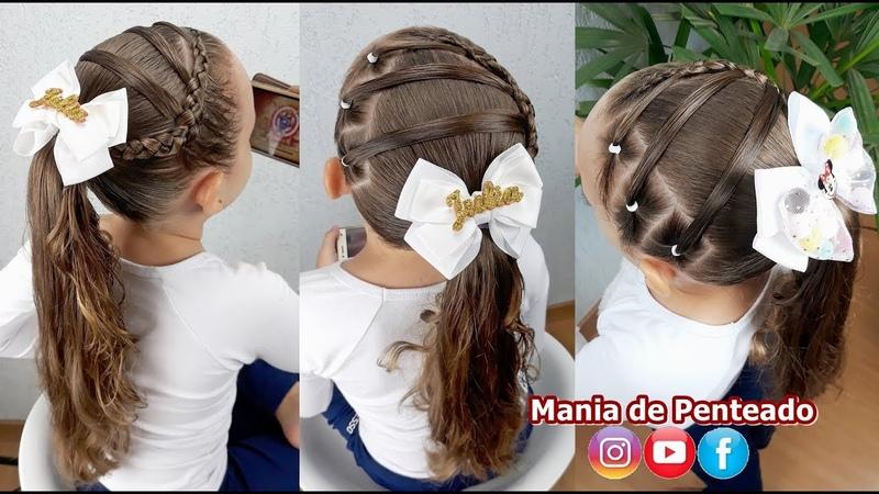 Penteado Infantil com liga e trança inversa Ponytail hairstyle with rubber band and braid for girl