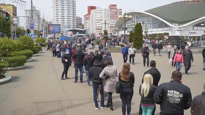 Протестная очередь против Лукашенко в Минске. Пикет Тихановского и Статкевича