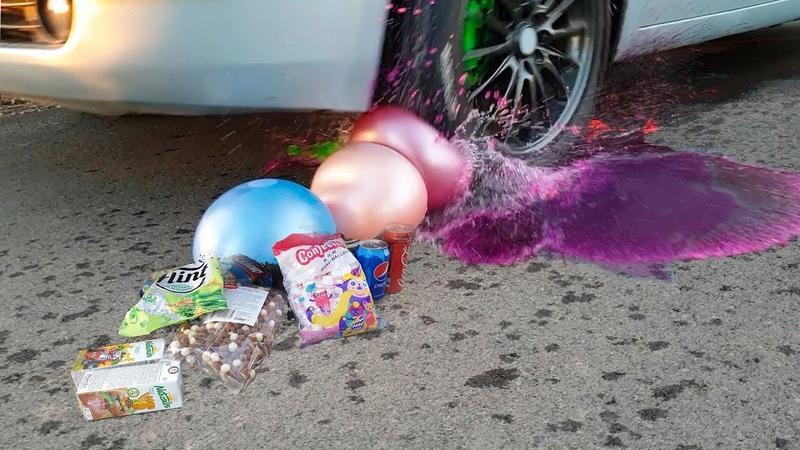 Crush the crisp and soft things with a car. Car VS Pepsi Mentos Car balloons VS Coca Cola