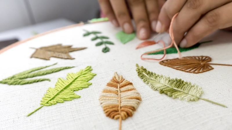 HAND EMBROIDERY FOR BEGINNERS 10 Types of Leaves