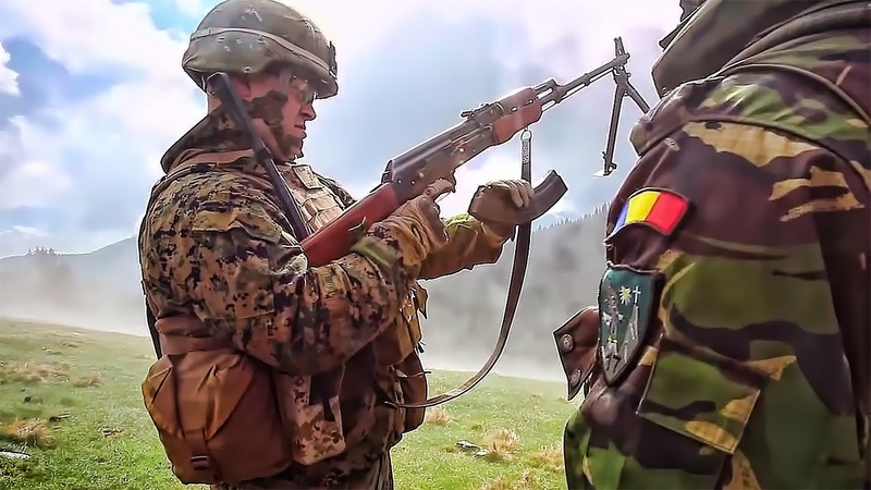 U.S. Marines Romanian Soldiers - Live Fire Exercise