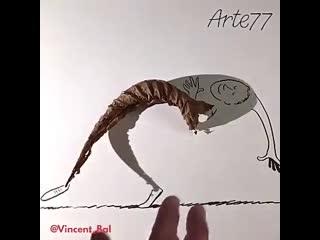 Vincent Val (Bal), el artista belga que realiza ilustraciones con la sombra de los objetos.