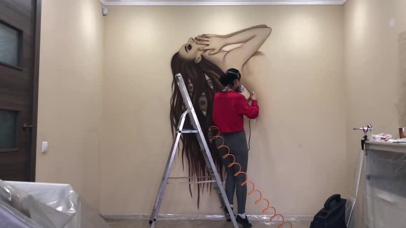 Роспись интерьера салона красоты Мегрец Краснодар Россия