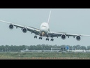 Unbelievable AIRBUS A380 CROSSWIND LANDING GO AROUND SHARP RIGHT TURN during a STORM 4K