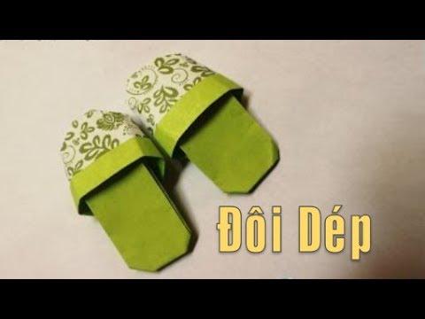Gấp Một Đôi Dép Đơn Giản Nhất Bằng Giấy Origami slipper
