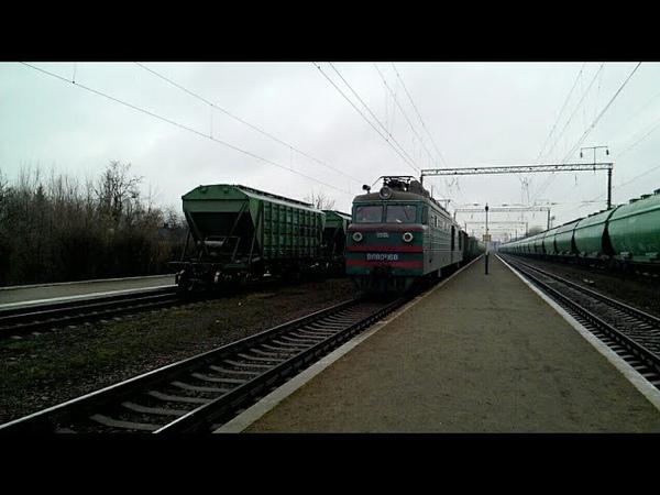 невывоз зерновозов Вл80к 168 с чётным грузовым поездом ст Кролевец ЮЗжд линия Конотоп Зерново