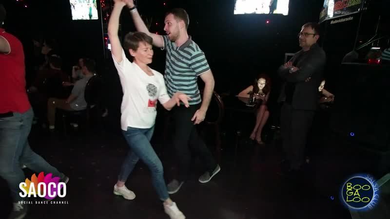 Марина Ванюшина и Павел Войтов танцуют сальсу на вечеринке танцевального клуба BOOGALOO 28.04.2019