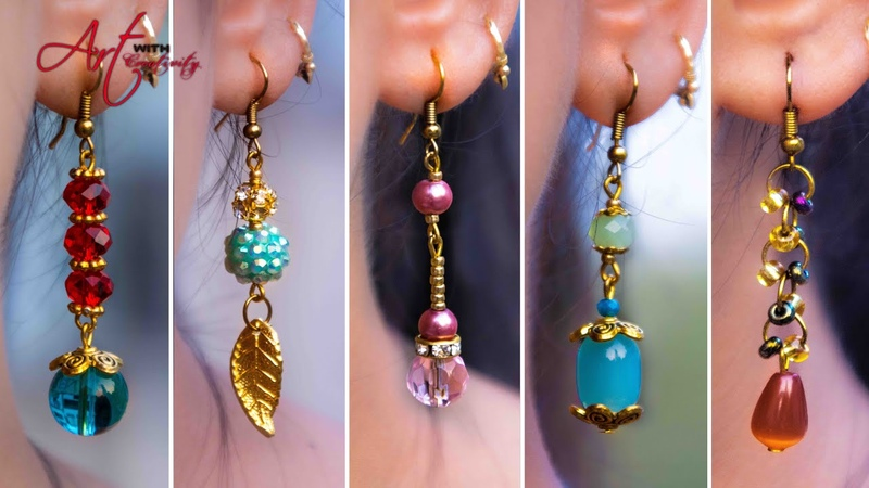 5 easy Pearl Crystal Earring Design DIY 5 min Craft Hand made jewelry Art with Creativity