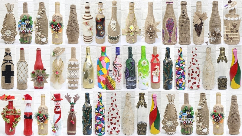 50 Bottle decoration ideas | Bottle decoration with jute rope,clay,....