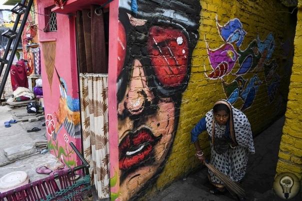 Стрит-арт в трущобах Нью-Дели, Индия. часть 2