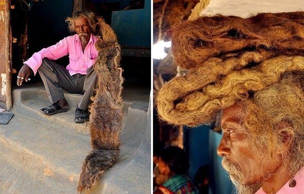 Житель Индии 40 лет не стриг и не мыл волосы Индус говорит, что стричь волосы ему запрещает бог, приходящий во сне. Волосы длиной в несколько метров сбились в один огромный дред. Житель