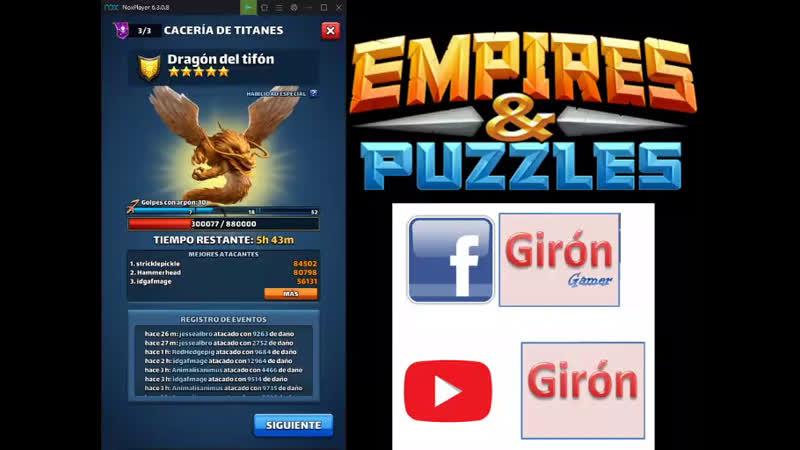 GIRON Titan Dragón del Tifon con 5 estrellas Empires Puzzles