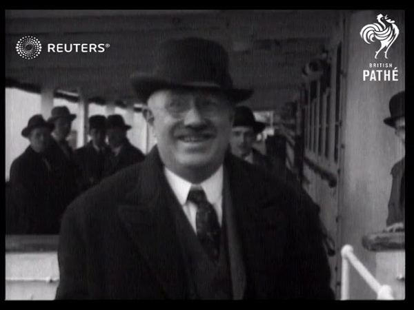Pussyfoot Johnson arrives at Liverpool 1921