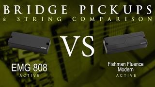 EMG 808 vs FISHMAN FLUENCE MODERN (ceramic) - 8 String Active Bridge Pickup Guitar Tone Comparison