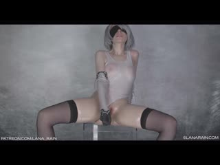 Lana Rain (ManyVids - Oiled Up 2B With Transparent Dildo) [2020, Solo, Cosplay, Masturbation, Toys, HD 2160p]
