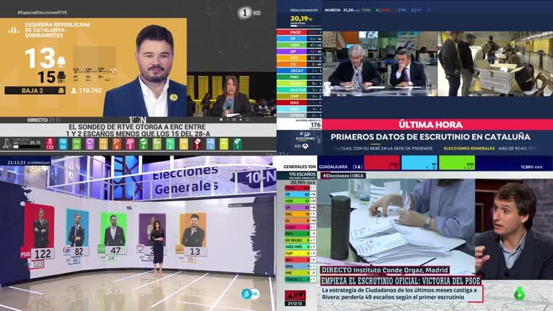 Mosaico 4 canales noche electoral 1, 3, 5 y 6 (1) - Comienzo escrutinio SONIDO MEZCLADO OBS 4K 10-11-19 21-06-22