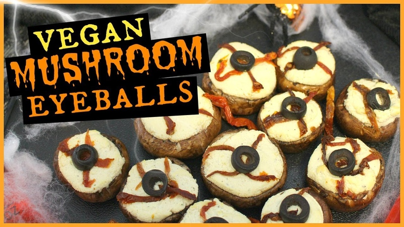 Vegan Halloween Stuffed Mushroom Eyeballs Easy Healthy Oil Free