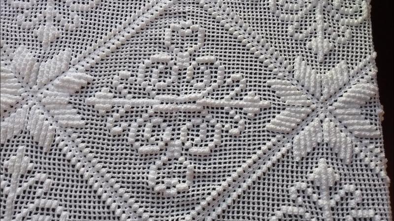 Square imperial de crochê, parte 7(final), ponto alto e ponto pipoca