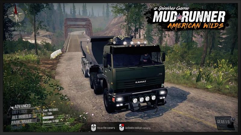 Military truck Kamaz 54115 with trailer Meiller Damper Kipper in Spintires Mudrunner Offroad