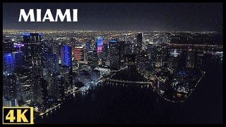 Downtown Miami, Florida USA at  Night Aerial 4K Drone