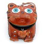Кошелек «Кот с рыбкой» ключница на магните, кожа