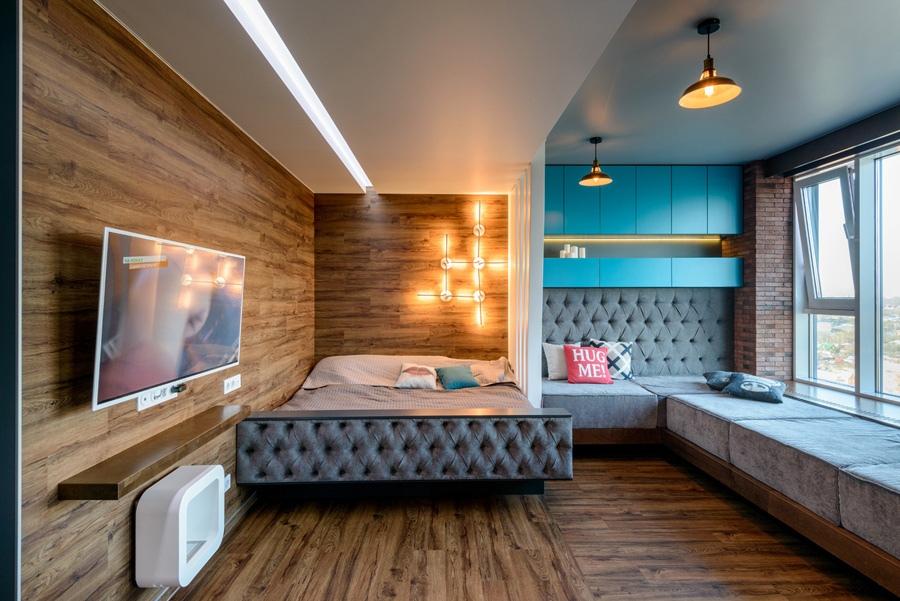 Перепланировка 1-комнатной квартиры в студию 43 м в Новосибирске.