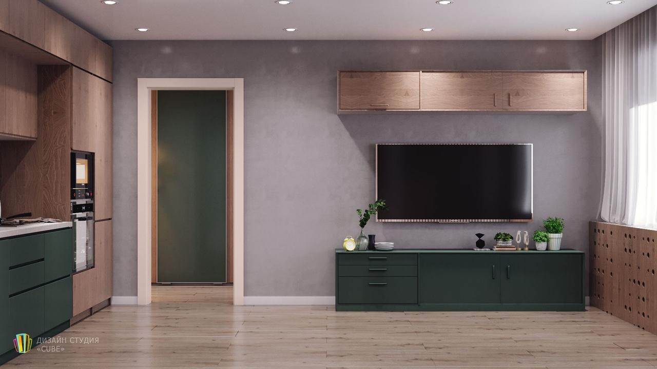 Проект квартиры 28 м с маленькой гардеробной/хозяйственной комнатой.