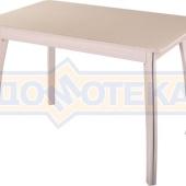 Стол обеденный  Танго ПР-1 МД ст-КР 07 ВП МД, молочный дуб, стекло кремового цвета
