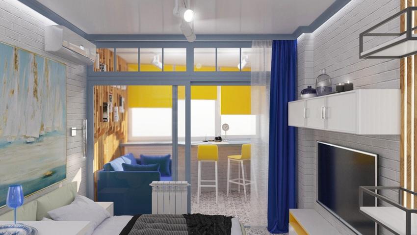Проект квартиры-студии 27 м в морской тематике.