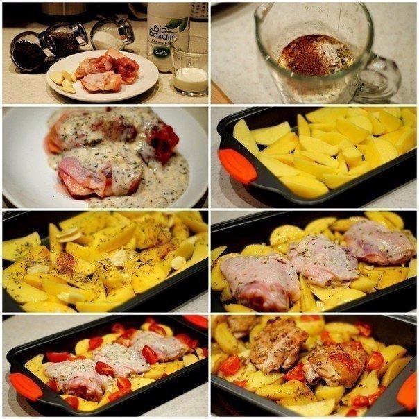 Курица маринованная в кефире, запечённая с картофелем с травами и чесноком. 110 ккал