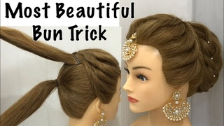 Most Beautiful Hairstyle for Wedding or party | Easy Hairstyles | Bun Hairstyle with Trick