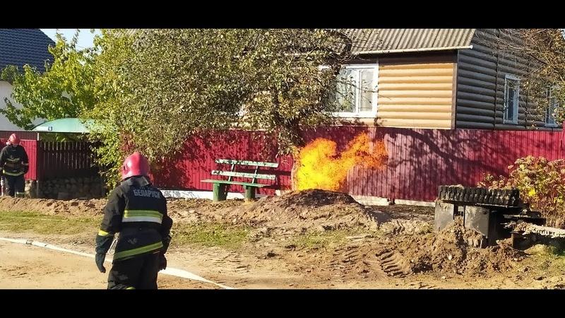 В Плещеницах на улице Слободской горел газопровод