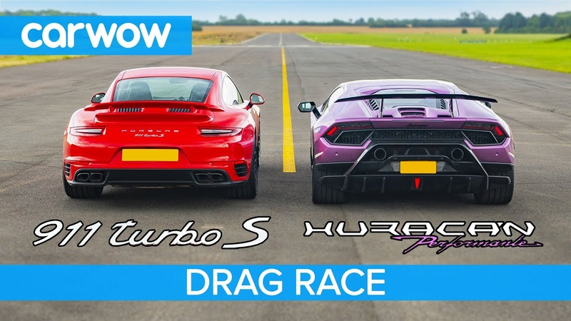 Lamborghini Huracan Performante v Porsche 911 Turbo S DRAG RACE ROLLING RACE BRAKE TEST