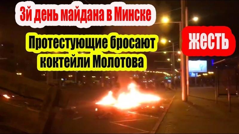 Протестующие в Минске бросают коктейли Молотова и камни в ОМОН
