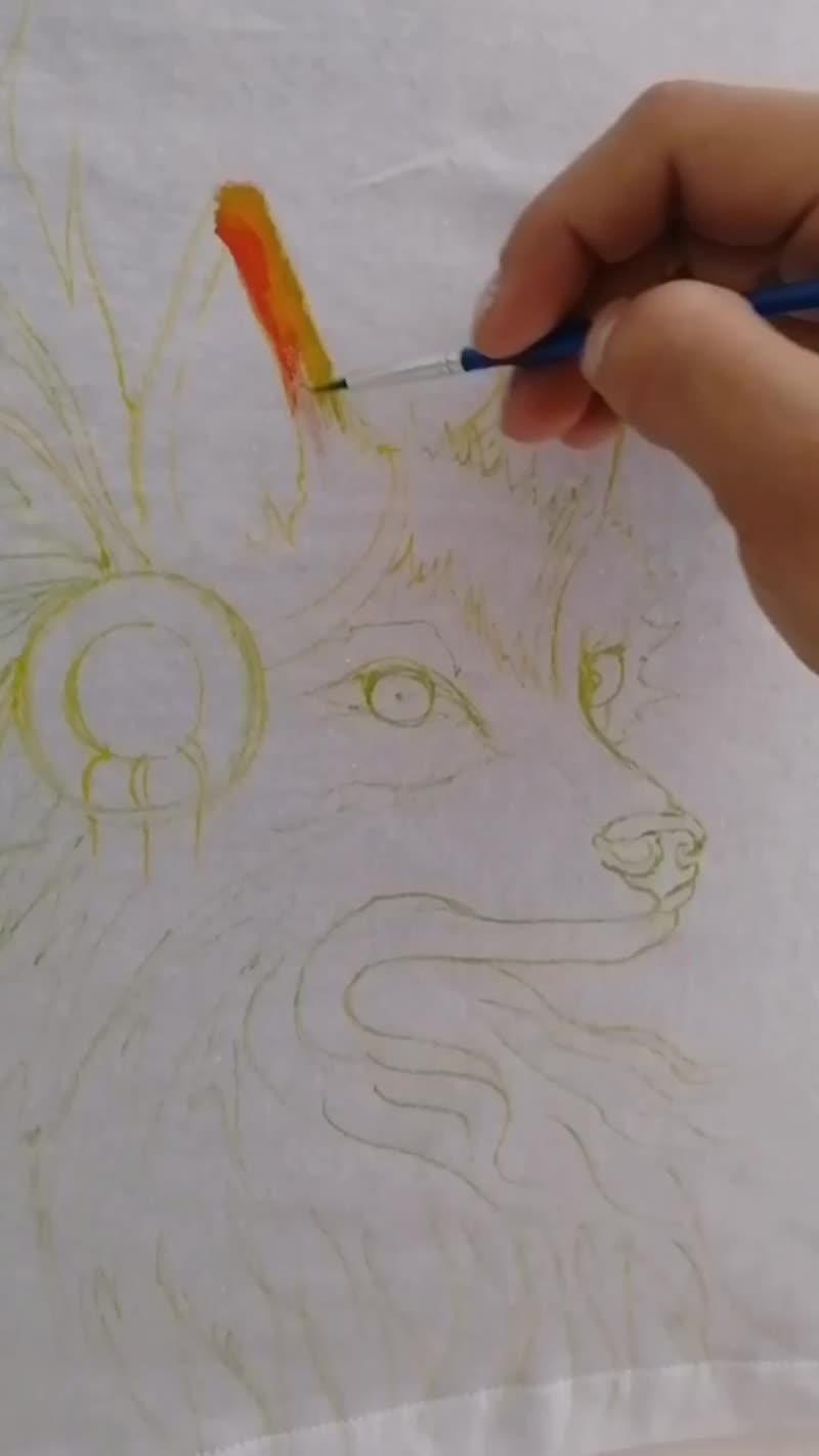 Лисичка, роспись на майке.